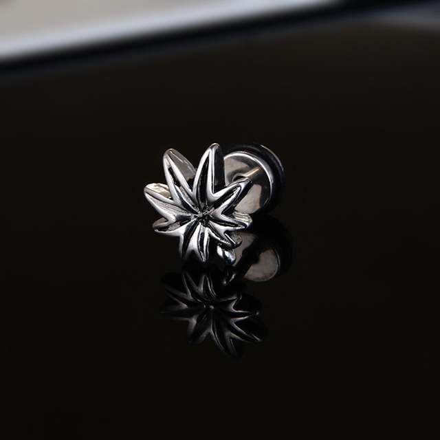 1 Pair 2PC Punk Style Titanium Steel Maple Cannabiss Leaf Earrings Male Female Stud Earring Men Trendy Party Jewelry 2