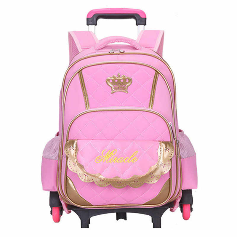 Hot Sale Trolley Backpack Girls Wheeled School Bag Children Travel Luggage  Suitcase On Wheels Kids Rolling 14209a6871