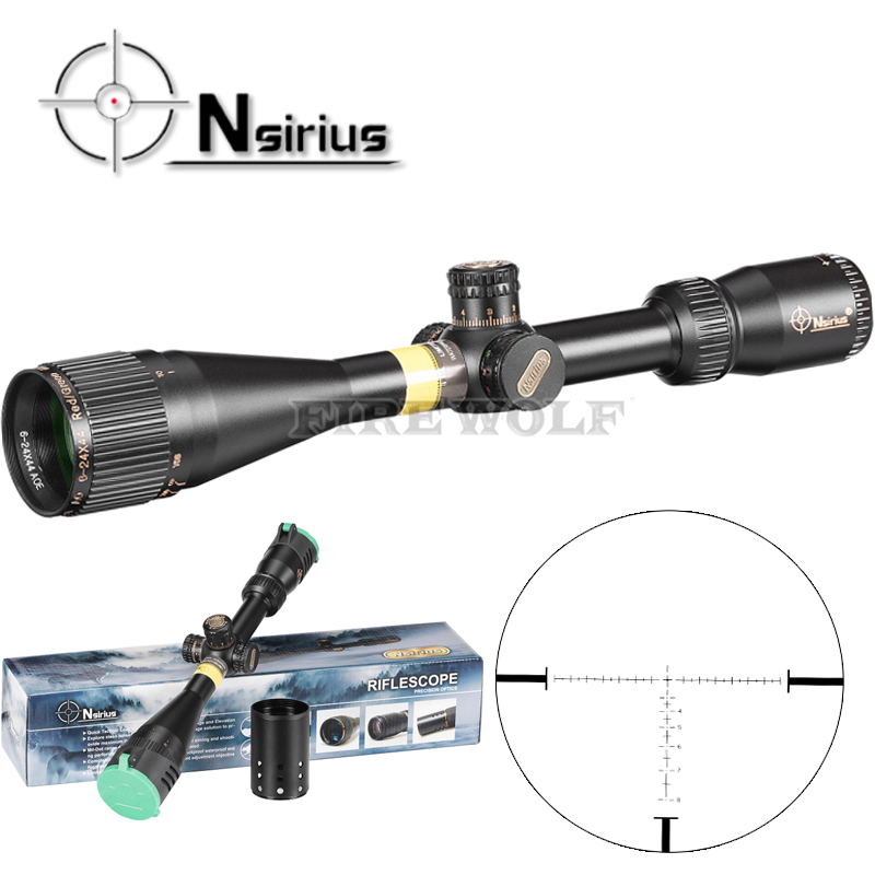 NSIRIUS Tactical 6-24x44 AO Riflescope Optical Sight Full Size Mil Dot Red Green Llluminate Hunting Rifle Scope tactical bsa catseye 6 24x44 sp optical sight side parallax riflescope mil dot hunting rifle scope