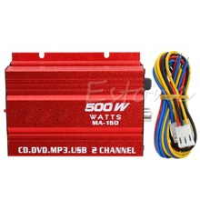 Mini Hi-Fi 500W 2 Channel Stereo Audio Amplifier For Car Auto Motorcycle HOT