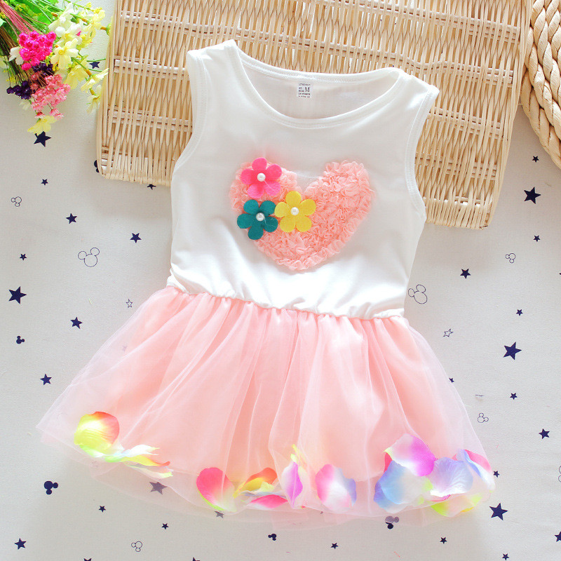 f1a897a6e33 Toddler Girl Dresses 2018 New Design Summer 3 D Flower Love Newborn Baby  Dress Infant Costume Mesh Kids Princess Dress