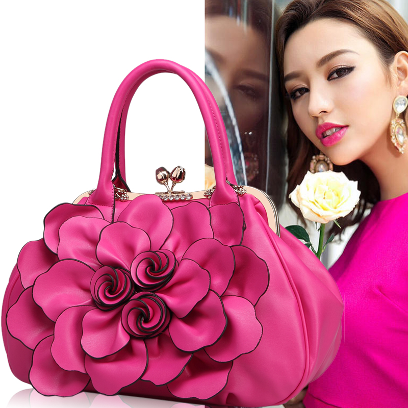 Fashion Soft PU Leather Big Flower Handbag Women Evening Bag 2018 New Style Lady Party Shopping Shoulder Top-handle Bags Gifts linen top handle bag chinese national style handbag women handmade tassal embroidery flower lady casual totes big shoulder bag