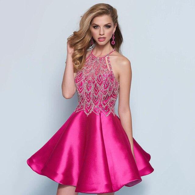 Sexy hot pink corto de fiesta vestidos halter del vestido de bola ...