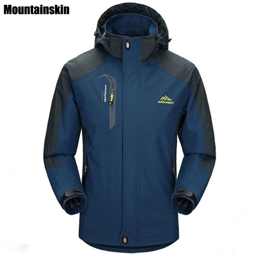 Mountainskin 5XL Men's Jackets Waterproof Spring Hooded Coats Men Women Outerwear Army Solid Casual Brand Male Clothing,SA153-in Jackets from Men's Clothing