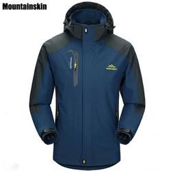 Mountainskin 5XL Для мужчин Куртки Водонепроницаемый Весна пальто с капюшоном Для мужчин Для женщин верхняя одежда армия Однотонная повседневная