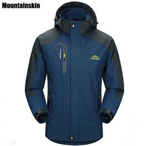 Image 1 - Mountainskin 5XL 男性のジャケット防水春フード付きコート男性女性アウターアーミー固体カジュアルブランド男性服、 SA153