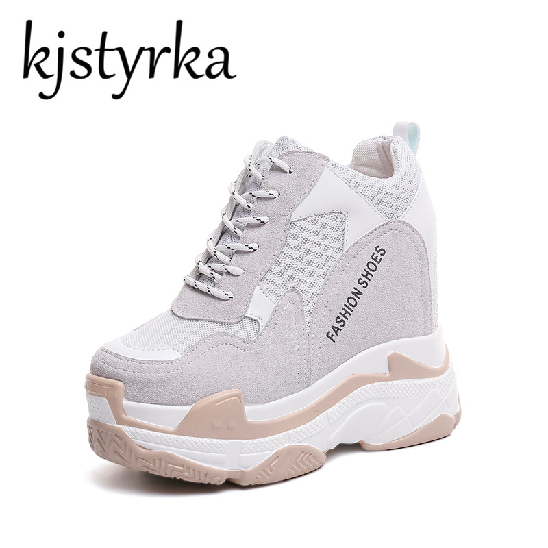 Kjstyrka Lace Up Casual Height Increasing Platform High Heels Women Shoes 2018 Fashion Sneakers Female Wedges Black White Shoes