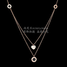 Eleple Simple Roman Numeral Double Layer Necklaces Women Elegant Love Stainless Steel Necklace Manufacturers Wholesale SLTP 5-3