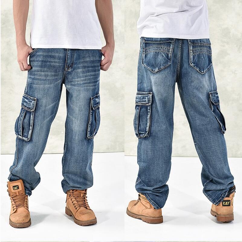 2018 Fashion Men's Baggy Hip Hop   Jeans   Plus Size 30-46 Multi Pockets Skateboard Cargo   Jeans   For Men Tactical Denim Joggers