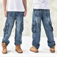 Uomini di modo Baggy Hip Hop Jeans 2017 Più Il Formato 30-46 Multi Tasche di Skateboard Cargo Jeans Per Gli Uomini Tactical Denim Pantaloni