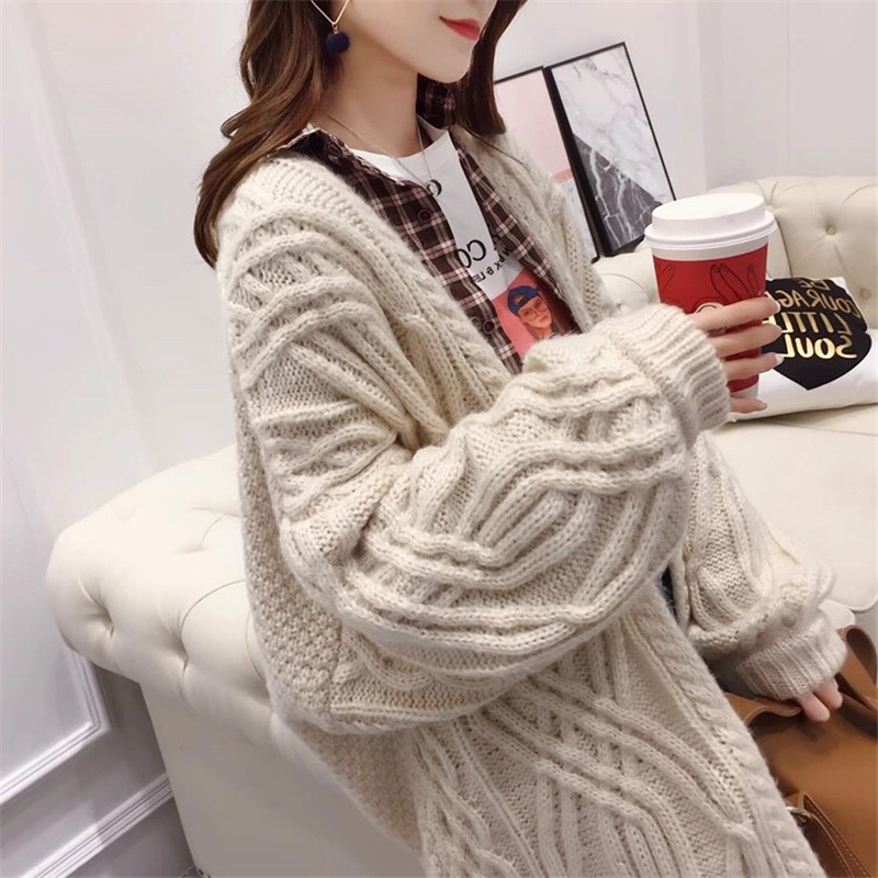 Solide Point Tricot Manteau Couleur Étudiant Long Ouvrir Mz3253 Beige Cardigan Printemps vert Sauvage Nouveau Style Harajuku Chandail Femelle Twist kaki Lâche SaOqO