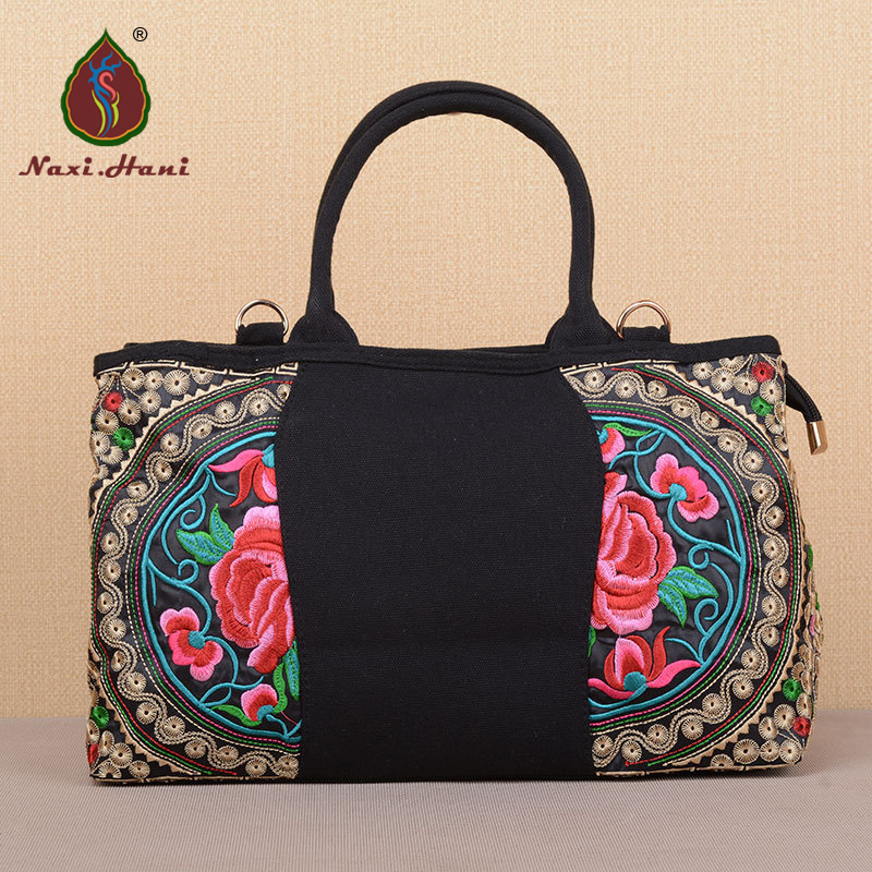 цены Ethnic style embroidered women handbag vintage fashion canvas totes national shoulder bags