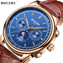 BOYZHE Fashion Business Watch Men Casual Leather Moon Phase Luxury Waterproof Mechanical Watches Self Wind montre