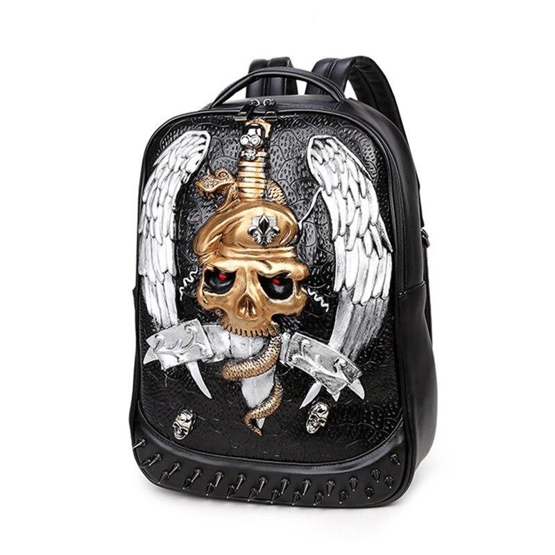 Sacs à dos de personnalité, sac à bandoulière double grande capacité, cartable étudiant de voyage de mode, sac à dos rivet tendance créative