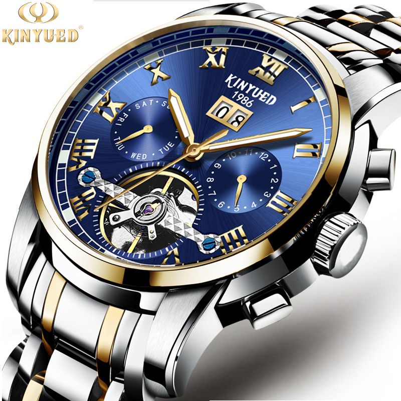 Kinyued Stainless Steel Mechanical Wrist Watches Skeleton Tourbillon Mechanical Watch Automatic Men Golden Edge Blue Dial J014Kinyued Stainless Steel Mechanical Wrist Watches Skeleton Tourbillon Mechanical Watch Automatic Men Golden Edge Blue Dial J014
