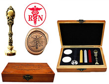 RN Nurse Vintage Custom Luxury Wax Seal Sealing Stamp Brass Peacock Metal Handle Sticks Melting Spoon Wood Gift Box Set