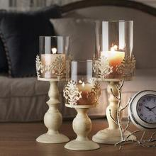 PINNY European Style Retro Iron Candle Holders Metal New Classical Candlesticks Romantic Decoration Home Stand