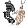 1Set Fashion Jewelry Stainless Steel Rose Gold Black Angel Wings Heart Pendant Couple Necklace pareja alas collares para parejas
