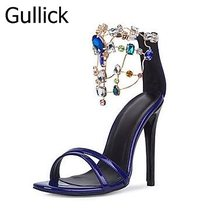 Woman High Heel Sandal Summer Newest Open Toe Ankle Strap Sandal Thin Heels Crystal Embellished Dress Shoes Cutouts Sandals цены онлайн