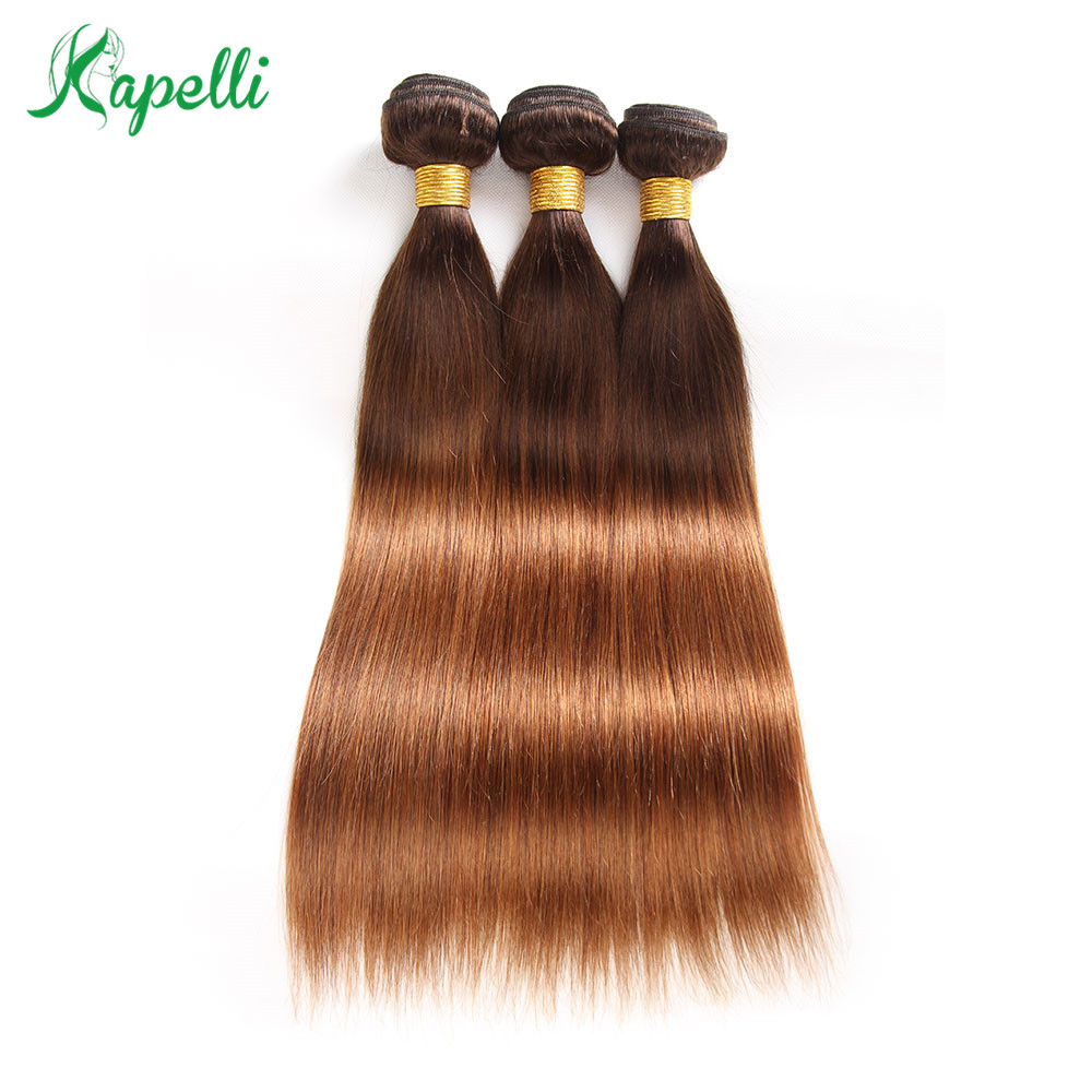 Human Hair Weaves 4 Bundles 10-26inch Ombre Hair Extension Learned Straight Pre-colored Remy Human Hair Weave T4/30 Brown Colored Brazilian Human Hair 3
