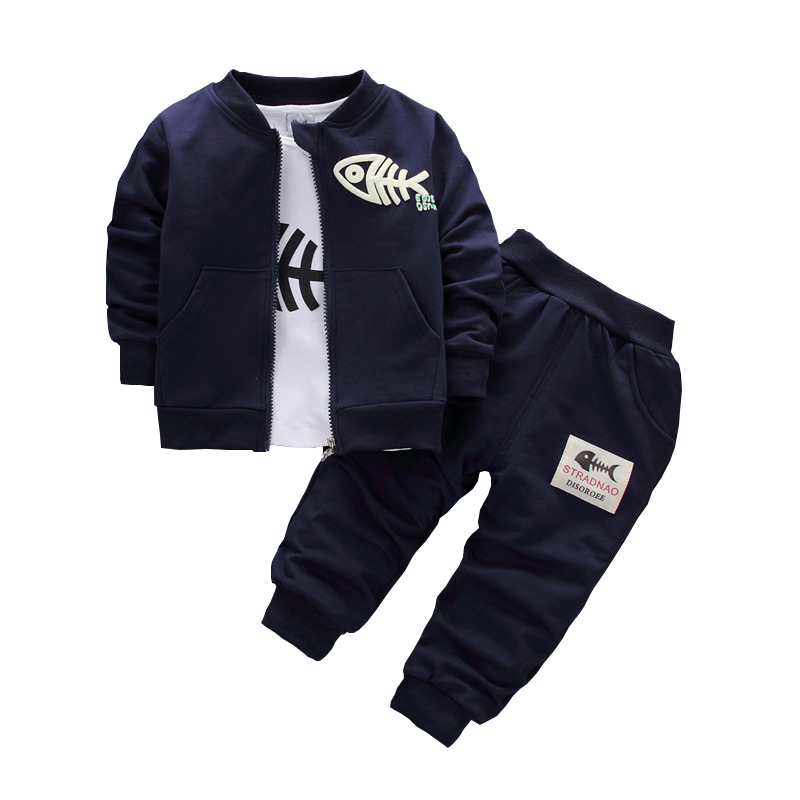2017 Baby Children Clothing Sets Boys Cotton Coat + shirt + trousers 3pcs fish bone Suits Autumn And Winter Children Tracksuits free shipping 2017 winter thickening children s suits baby boys and girls pentagram smiley face velvet 2pcs sets