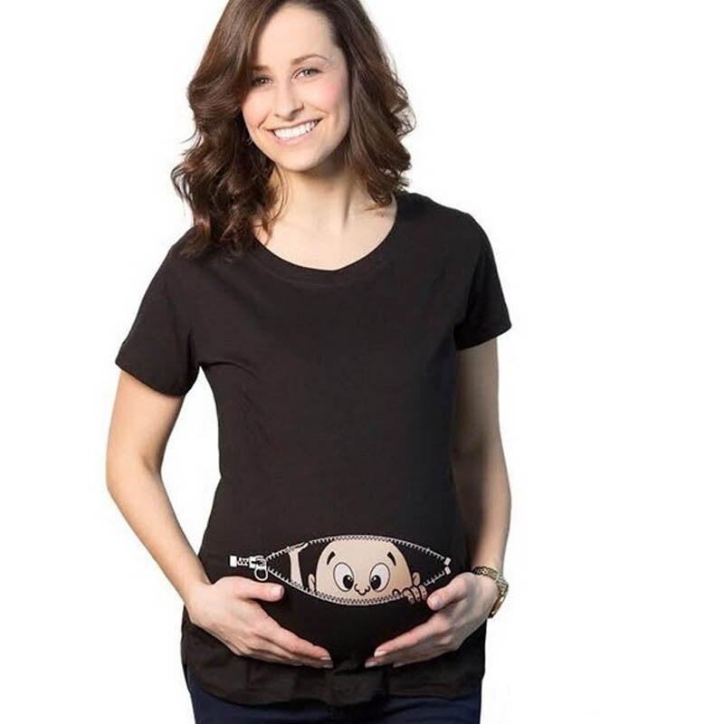 BONJEAN Summer Pregnant Women T-shirts Maternity Clothes Slim Cartoon Funny Nursing Top Letters O-Neck Pregnancy Long Tee Shirts
