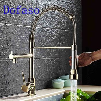 Dofaso gold spring ktiche faucet pull out hot and cold Water mixer faucets 360 rotate sink Kitchen taps ulgksd kitchen faucet black brass pull out sprayer vessel sink faucet deck mounted hot and cold vanity faucets mixer water taps