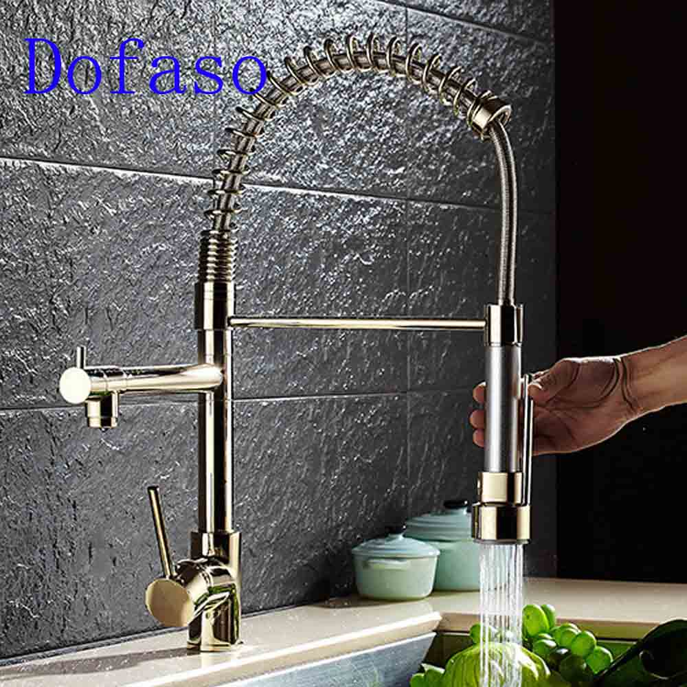 Dofaso gold spring ktiche faucet pull out hot and cold Water mixer faucets 360 rotate sink Kitchen taps