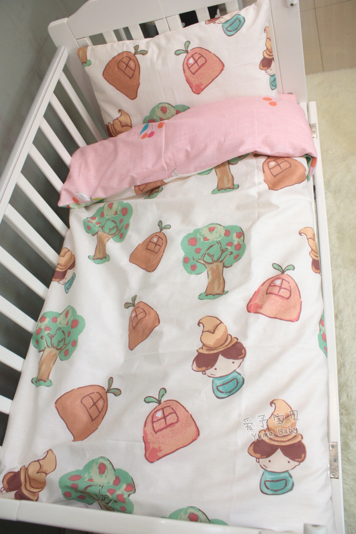 3Pcs Baby Bedding Set for Crib Newborn Baby Bed Linens for Girl Boy Cartoon flat Sheet Quilt cover pillow case infant bedding set newborn crib bedding set cute milk bottle and cows design with bed sheet quilt cover and pillowcase baby bed