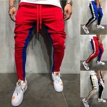 ZOGAA Новые 5 цветов модные мужские длинные тренировочные брюки с цветным блоком в стиле хип-хоп фитнес брюки на молнии для ног брюки большого размера m-xxxl