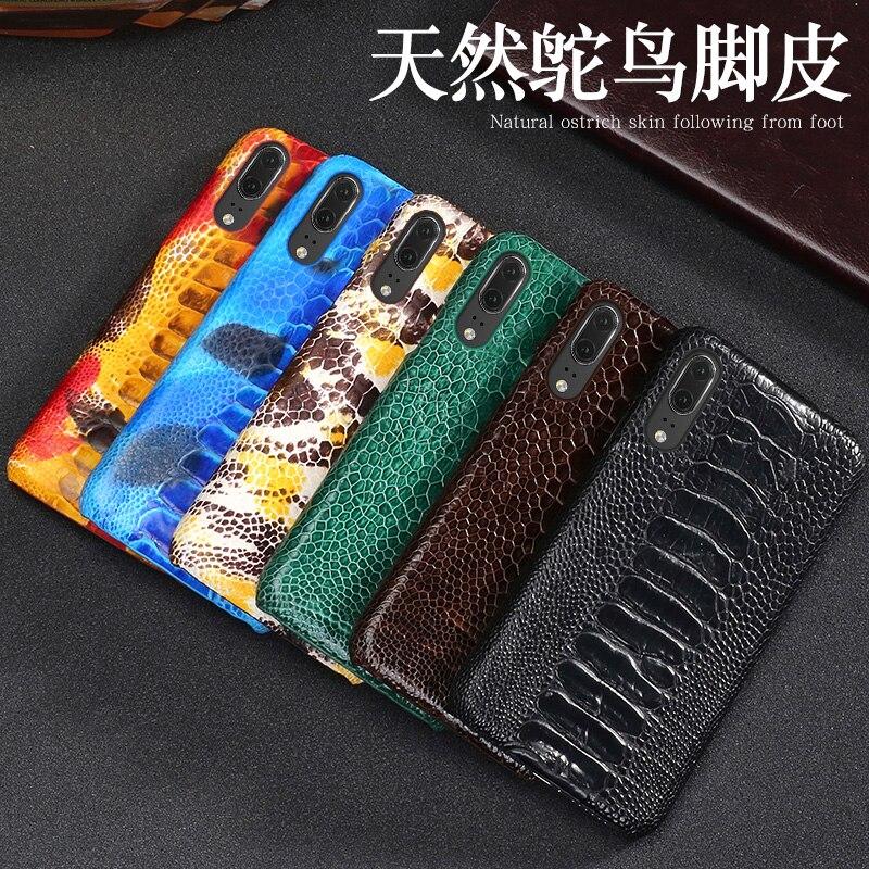 Capa de telefone de couro de luxo para huawei p10 p20 lite p10 p20 p30 pro caso de avestruz natural pé pele para mate 10 lite p caso inteligente - 6
