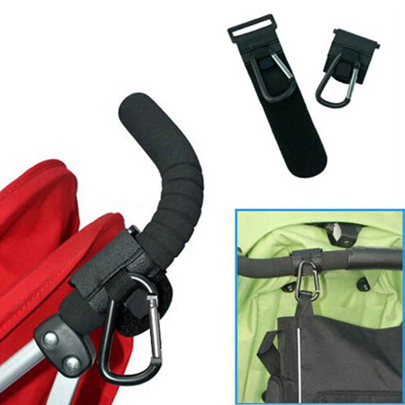 2 x Shopping Bag Hooks For Large Buggy Pram Pushchair Stroller Carabiner Clips