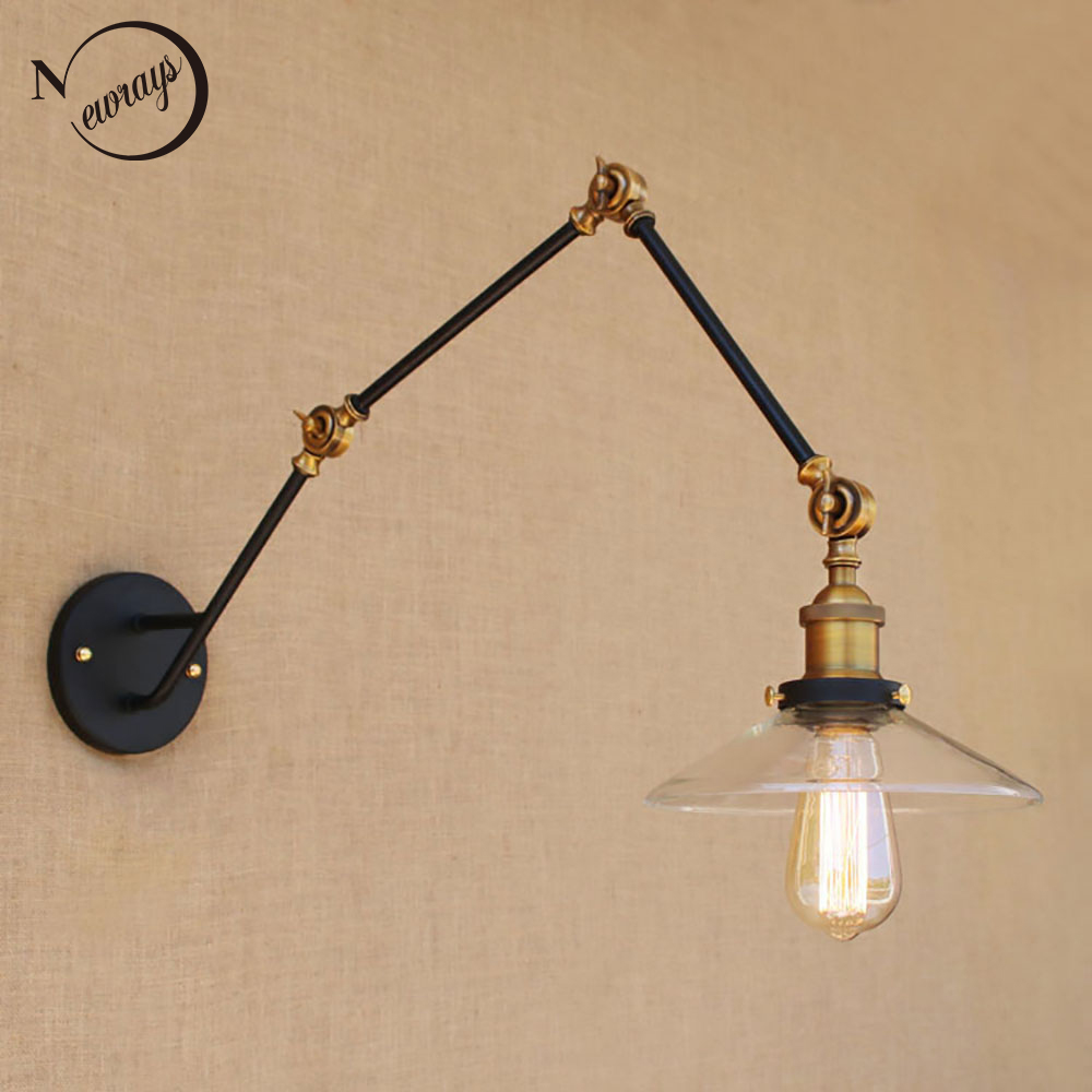 Здесь можно купить  Vintage antique black glass lampshade free adjust long swing arm wall lamp sconce for bedroom dining room E27 110v 220vlights  Свет и освещение