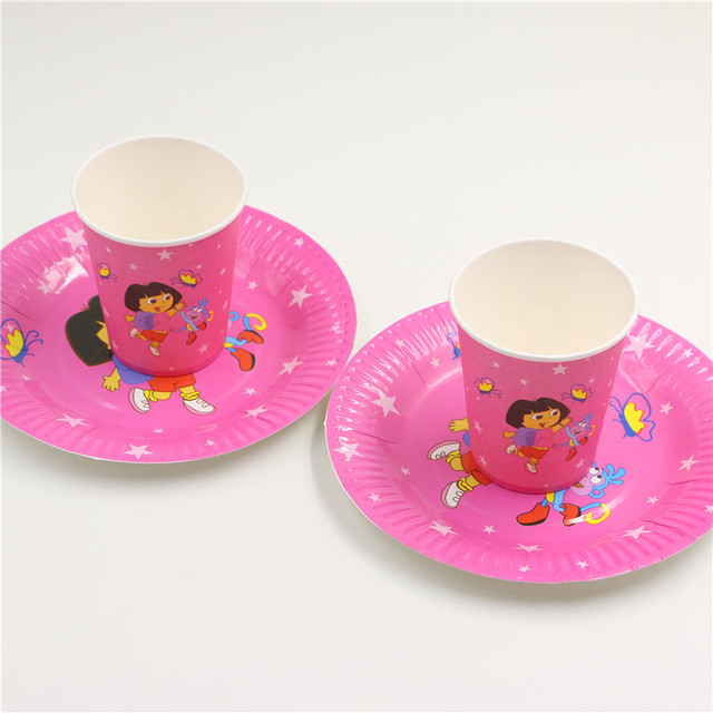 New arrival cartoon cute dora disposable Pink girls birthday party decorations paper plates cups/glass & New arrival cartoon cute dora disposable Pink girls birthday party ...