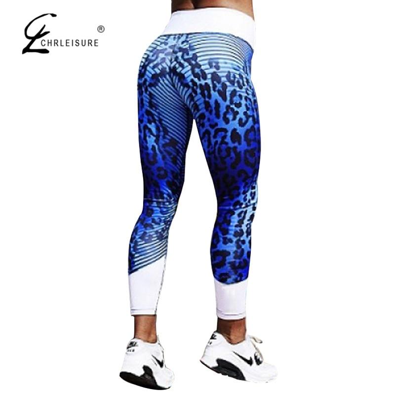 CHRLEISURE Sexy impreso leopardo Leggings mujeres de cintura alta de empuje Legging Fitness ropa deportiva Leggins Pantalones Mujer Pantalones 2 colores S-XL