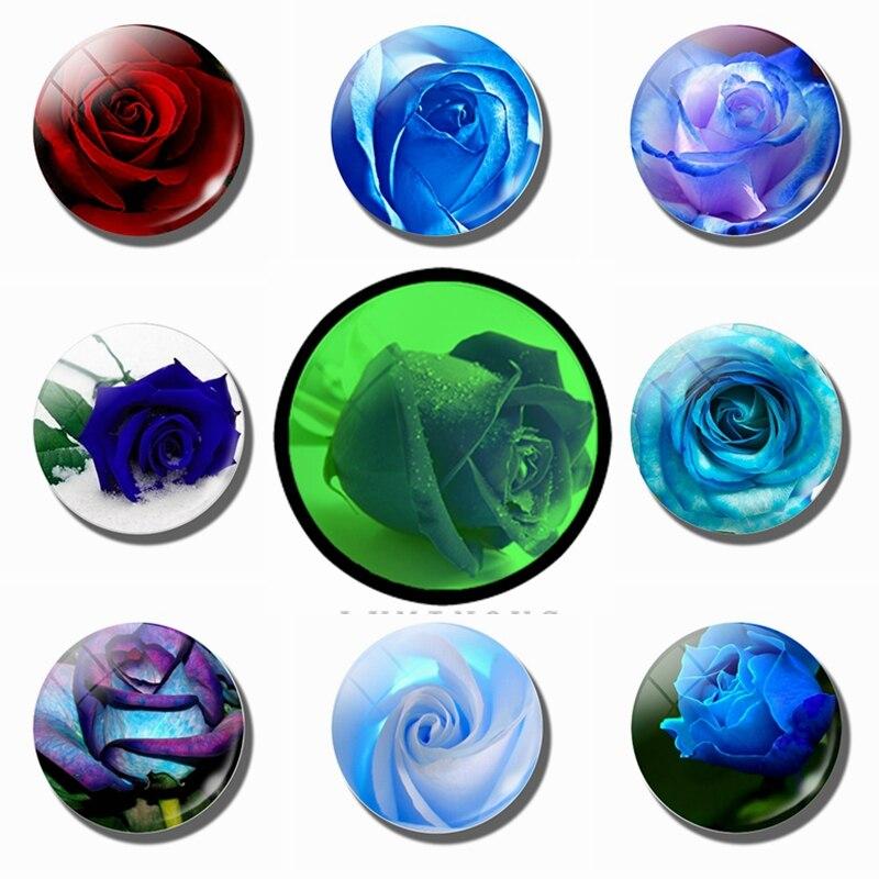 Синие и красные розы 30 мм Магниты На Холодильник Стеклянные светящиеся магниты на холодильник Цветочные магнитные наклейки на холодильник домашний декор