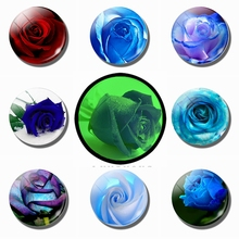Blue and Red Rose 30 MM Fridge Magnets Glass Luminous Refrigerator Flower Magnetic Stickers for Home Decor