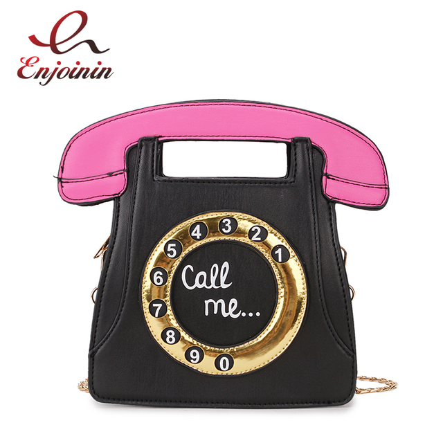 cc5bbd8db138 Funny Personality Fashion Phone Design Letters Ladies Pu Leather Handbag  Chain Purse Shoulder Bag Crossbody Messenger