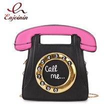 Забавная Личность Мода телефон дизайн буквы дамы искусственная кожа Сумочка цепи кошелек сумка через плечо сумка с клапаном