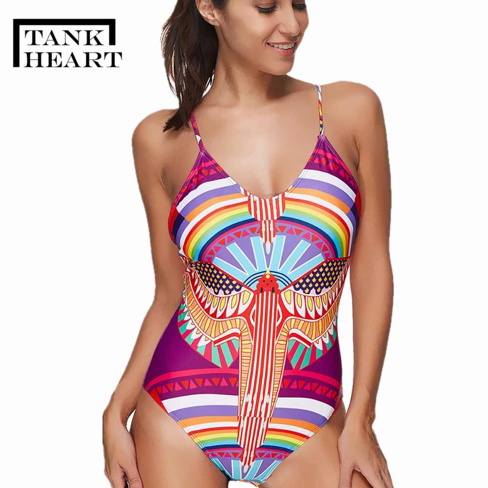 213f0fcd348c1 Tank Heart Sexy Print Floral Bandage India One Piece Bikinis Push-Up Padded  Swimsuit Beachwear