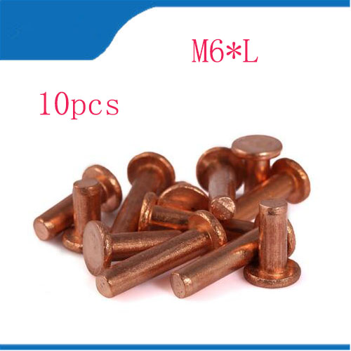 10pcs M6x8/10/12/14/16/18/20/22/25/30/35/40/45/50mm Length flat head copper rivets horizontal brass solid percussion 2017 недорого