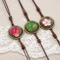Flyleaf Handmade Natural Cherry Flowers Charm Bracelets For Women Vintage Style Lady Jewelry 4