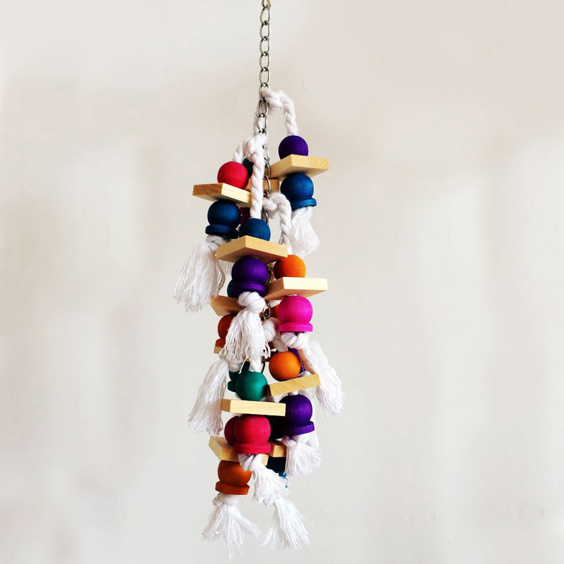Fashion Colorful Birds Parrot Chew Toys Wooden Swing Climbing the 38cm Ladders Bird Cage Accessories