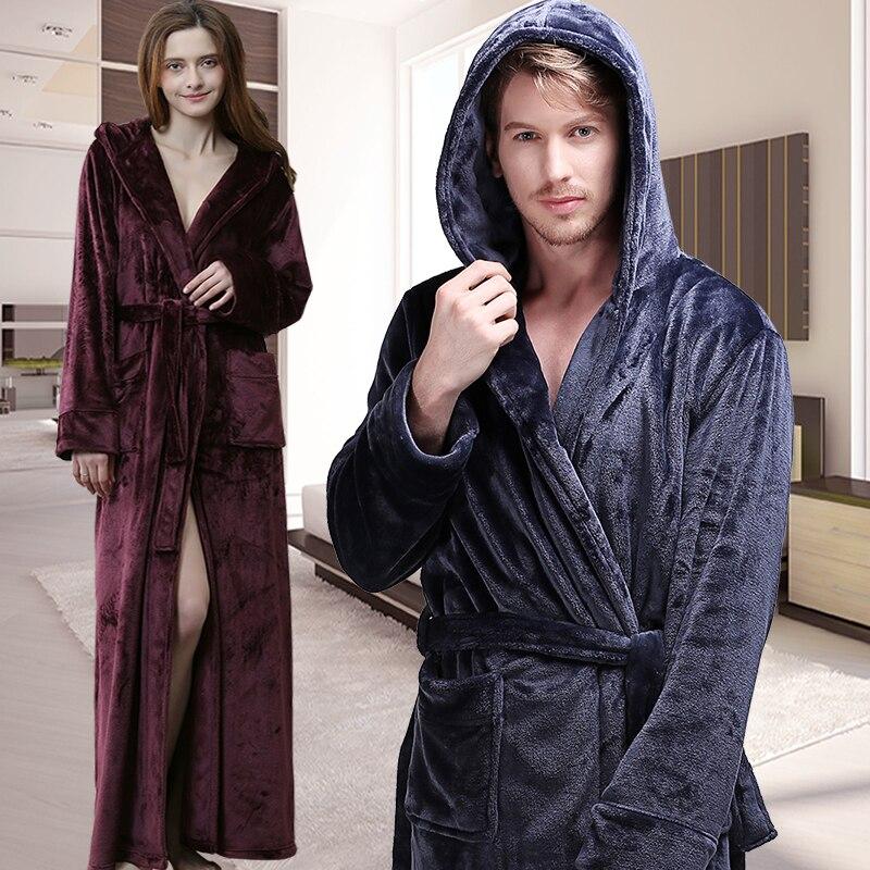 Hommes femmes hiver Extra Long à capuche épaisse flanelle chaude peignoir hommes de luxe thermique Robe de bain en soie douce Robe de chambre hommes Robes