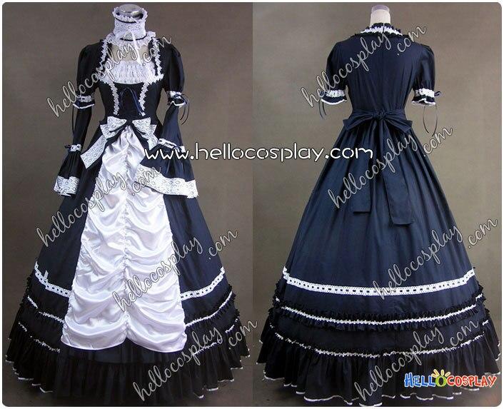Renaissance gothique Lolita robe bleue robe de bal de promo H008