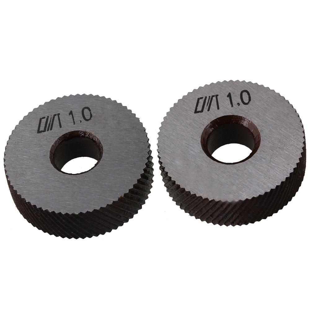 CNBTR 2 x Silver Steel Knurling Tool Diagonal Wheel Linear Knurl 26mm Dia 1mm Pitch