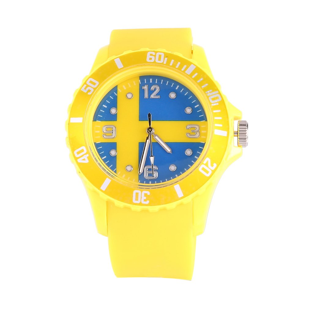 Sweden/Russian Flag Pattern Quartz Watches Yellow Color Silicone Strap Wristwatches Gifts For Lover