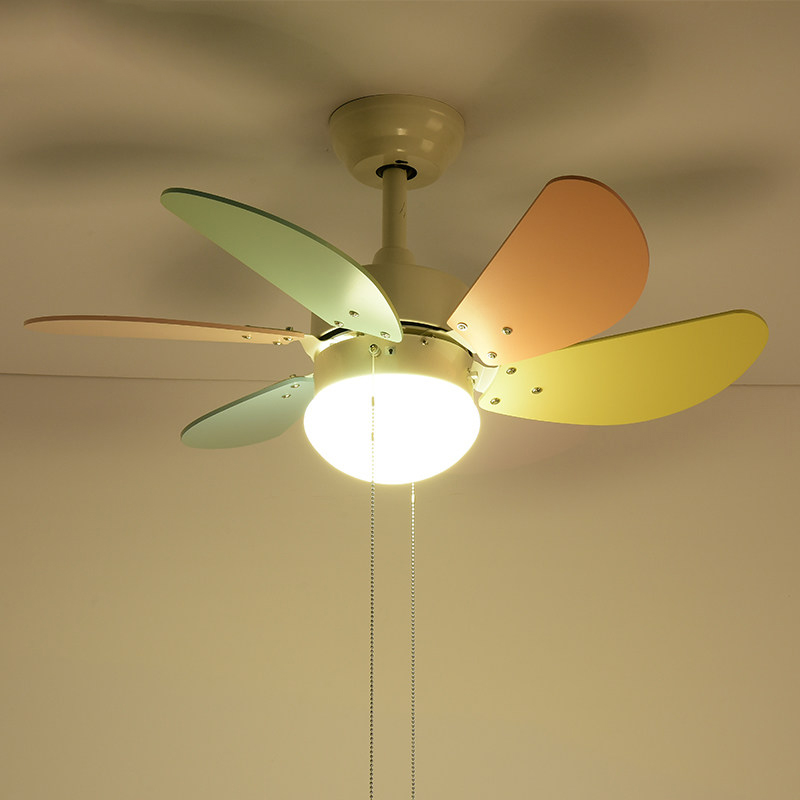 Lights & Lighting Ceiling Fans Modern Simple Colors Ceiling Fan Lamp Macaron Kids Room Living Room Led Iron Art Fan Lamp Colorful Fan Leaves Deco Pendant Lamp