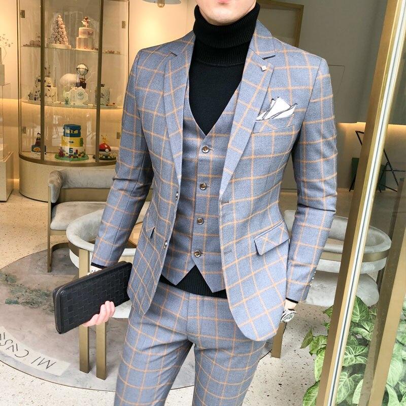 2019 New Men's Plaid Suit 3 Piece Set Black Gray Wine Red Men Blazer Jacket With Pant And Vest S-5XL Blaze