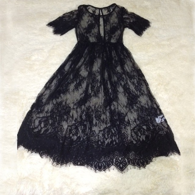 New Women Lace Dress Casual Long Black Short Sleeve